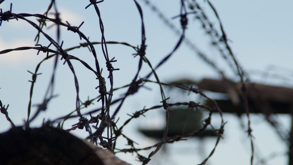 Barbed wire border fence
