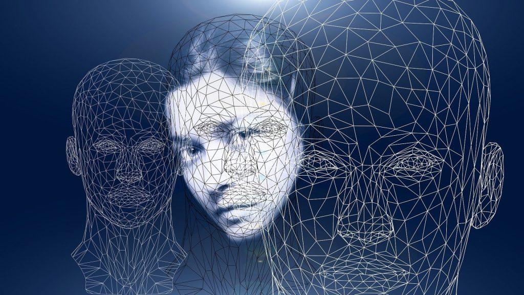 Female face wireframe identity